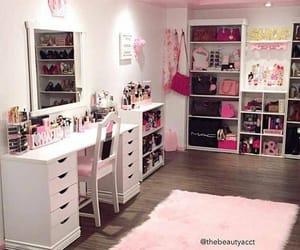 pink, room, and makeup image