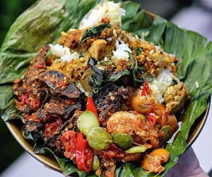 banana leaf, chilli, and curry image