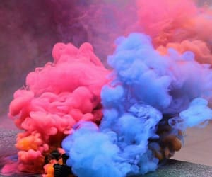 blue, pink, and smoke image