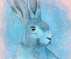 art, blue, and bunny image