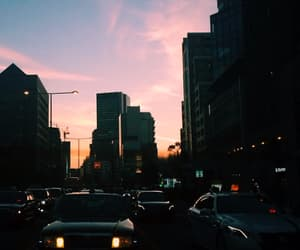 city, sunset, and car image
