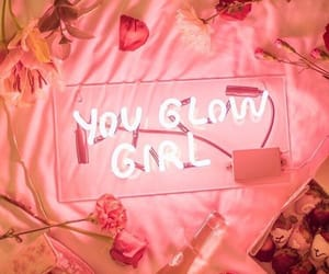pink, girl, and glow image
