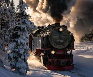 landscape, snow, and train image
