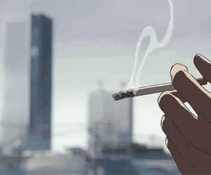 anime, smoke, and gif image