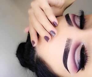 makeup, eyebrows, and purple image