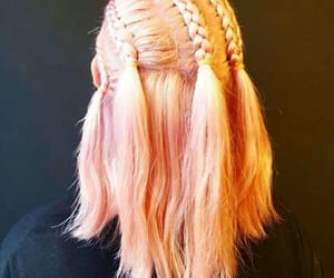 braids, pink hair, and style image