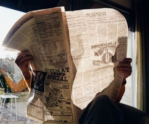 newspaper, vintage, and reading image
