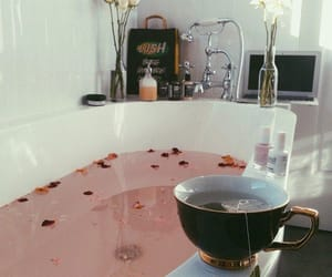relaxing, tea, and hot bath image