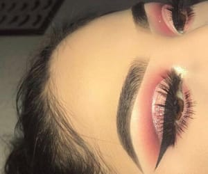 eye makeup, lashes, and pink image