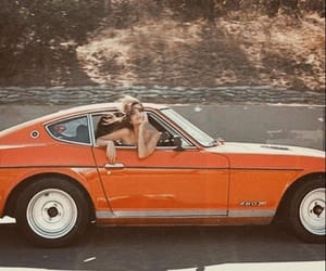 car, vintage, and orange image