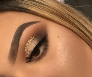 eye makeup, gold, and brows image