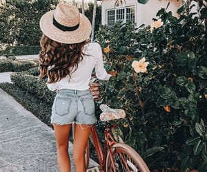 fashion, bike, and flowers image
