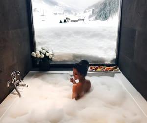 bath, snow, and winter image