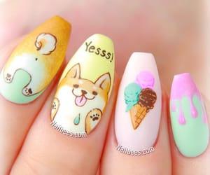 nails, nail art, and shiba inu image