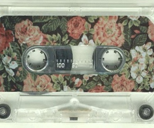 casette, vintage, and flowers image