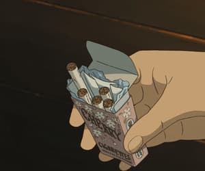 cigarette, gif, and anime image