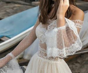 fashion, wedding dress, and white image