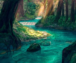forest, trees, and magic image
