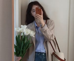 flowers, korean girl, and outfit image