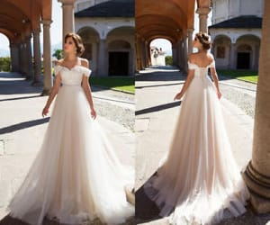 Tulle and Lace Off the Shoulder Spring Wedding Dress Corset Bridal Dress Gown  | eBay