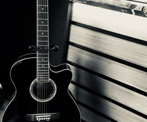 black and white, guitar, and life image