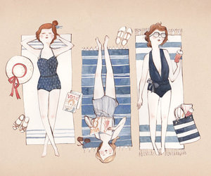 illustration, beach, and drawing image