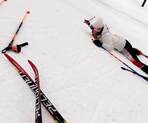 friend, winter, and xc skiing image