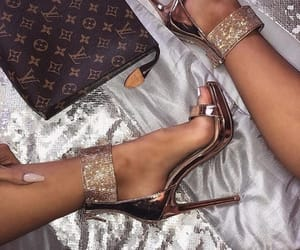 gold, shoes, and luxury image
