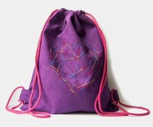 backpack, embroidery, and geometric image