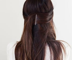 aesthetic, hair pin, and brunette image