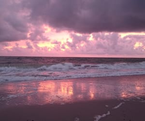 beach, pink, and sea image