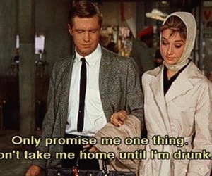 drunk, audrey hepburn, and Breakfast at Tiffany's image