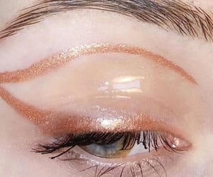 beauty, rose gold, and eyeliner image