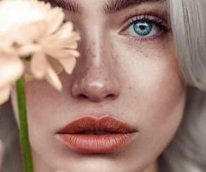 alternative, blue eyes, and flowers image