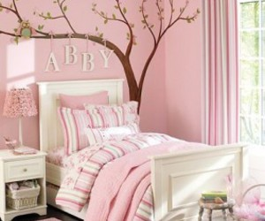 pink, tree, and girls room image