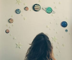 girl, planet, and stars image