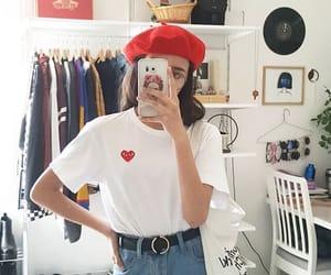 beret, comme des garcons, and heart image