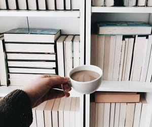 books, coffee, and shelf image