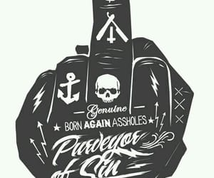 anchor, middle finger, and tattoo image