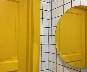 door, mirror, and yellow image