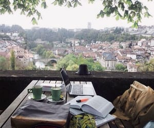 study, view, and book image