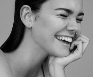maia mitchell, black and white, and smile image