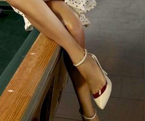cream, dress, and heels image