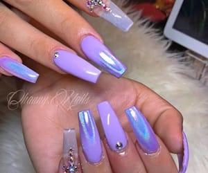 acrylic, nails, and purple image
