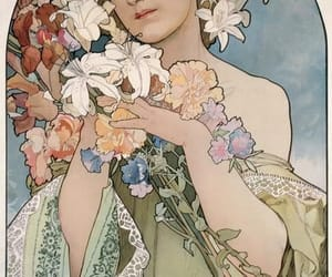 art, flowers, and alphonse mucha image