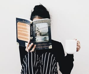 book, coffee, and girl image