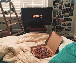 netflix, pizza, and bed image