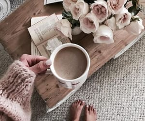 coffee, roses, and sweater image