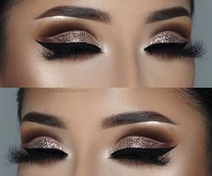 glitter, liner, and make up image