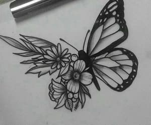 butterfly, drawing, and flowers image